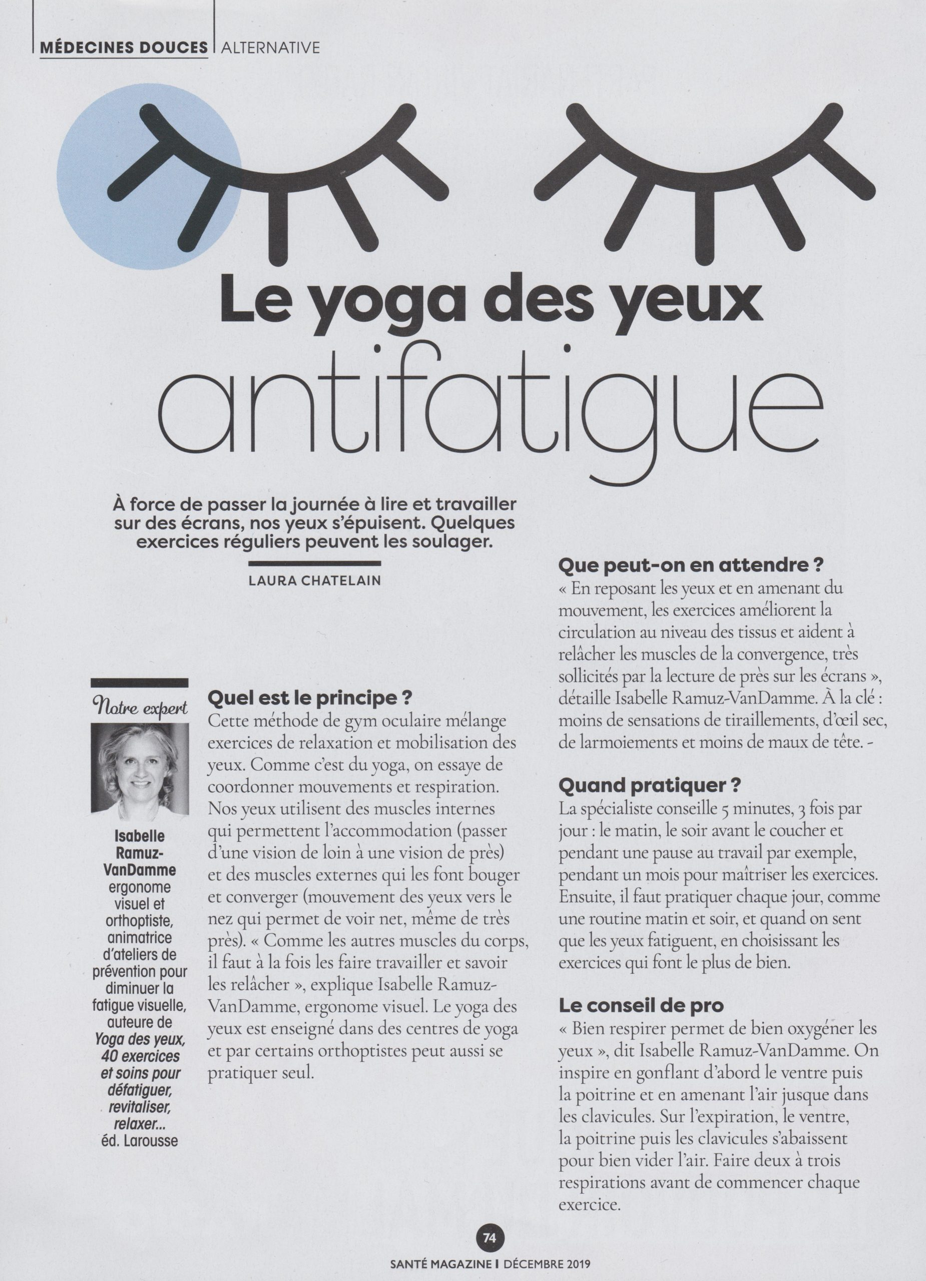 Santé-Magazine-N°528-Décembre-2019 article yoga des yeux