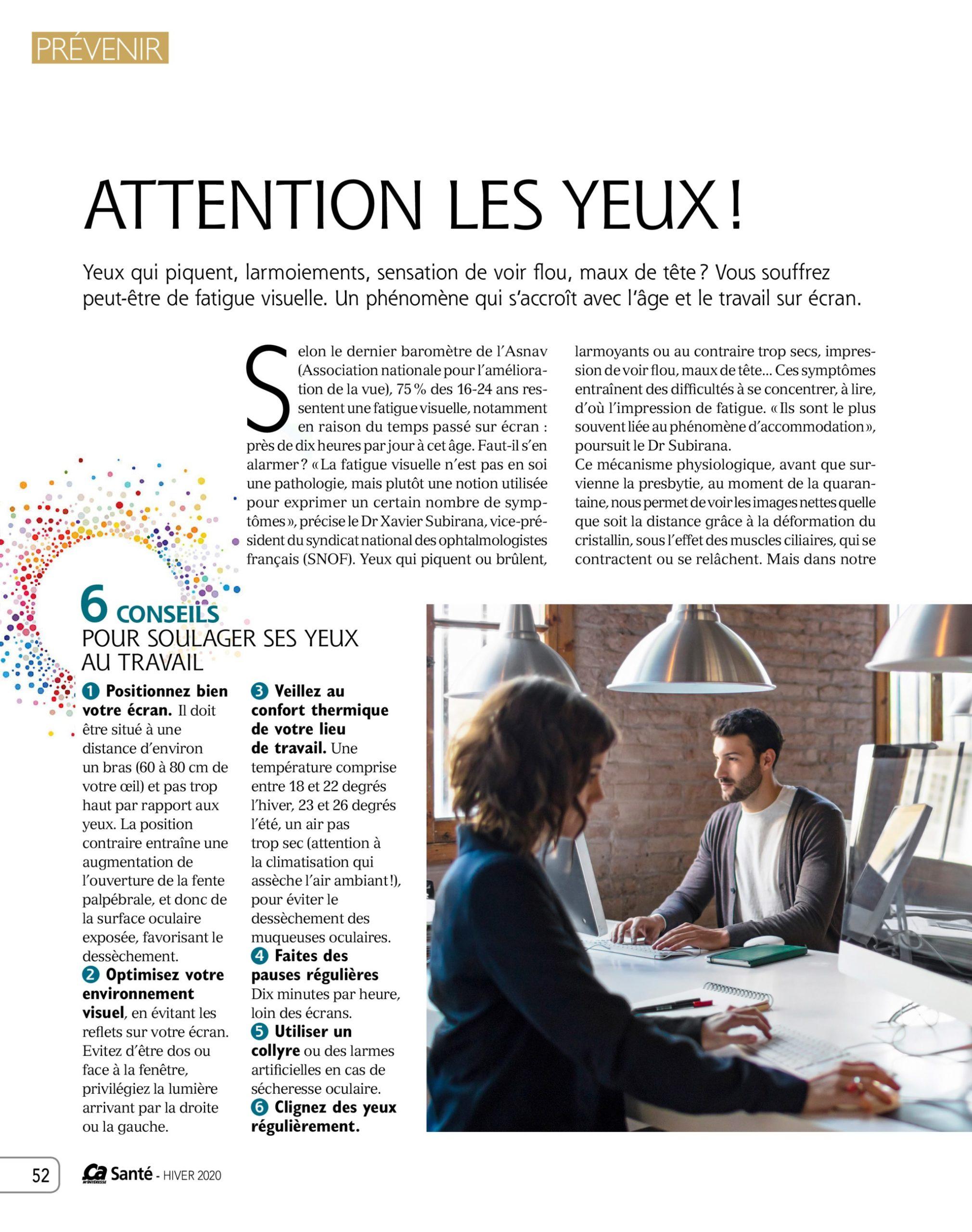 Ca SANTE Yoga des Yeux parution presse 2020