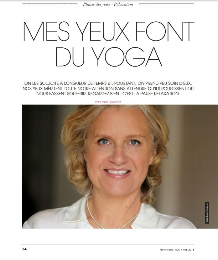 FémininBio Magazine article yoga des yeux avril 2018