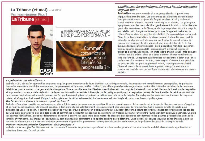 La tribune article yoga des yeux mai 2007