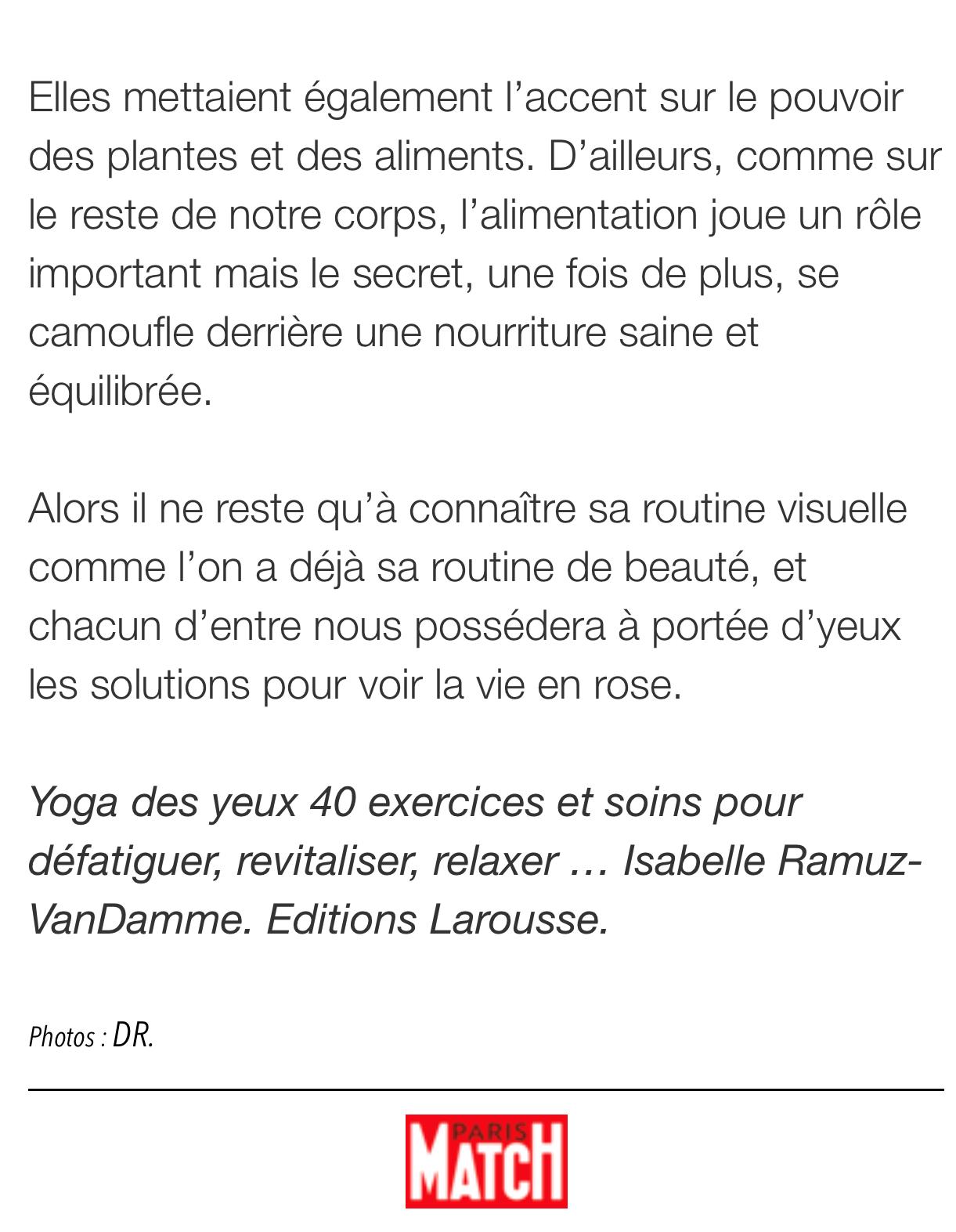 article yoga des yeux Paris Match oct 2018