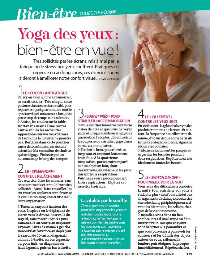 Article Yoga des Yeux Femme Actuelle février 2021