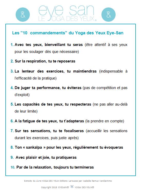 les 10 commandements du Yoga des Yeux Eye-San